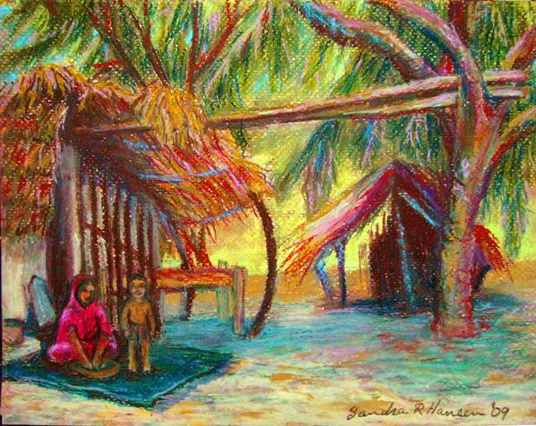 Oil Pastel Poster featuring the pastel Betawar Village Life by Art Nomad Sandra Hansen