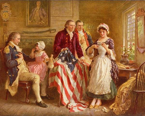 Betsy Ross Poster featuring the painting Betsy Ross 1777 by Jean Leon Gerome Ferris
