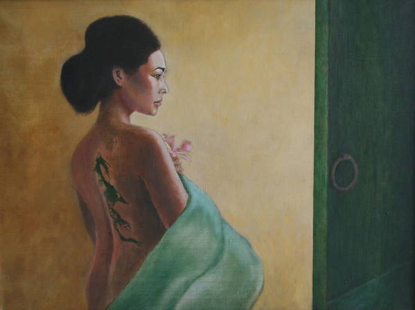 Portrait Poster featuring the painting Beyond The Green Door by Rf Hauver