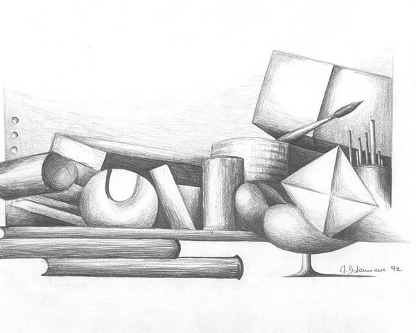 Still Life Poster featuring the drawing Bibliotheque by Muriel Dolemieux