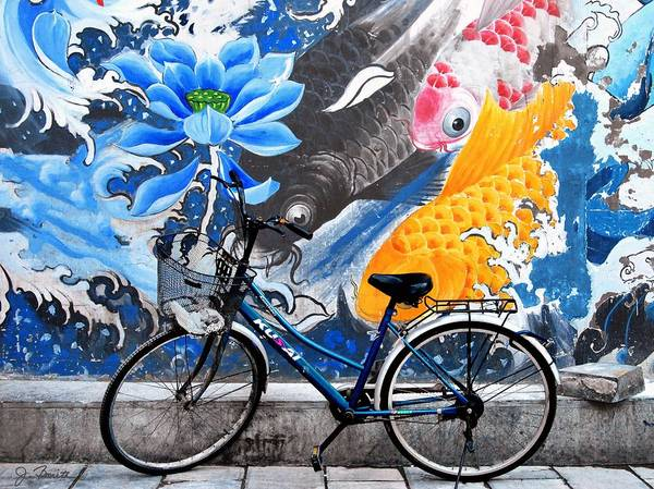 Bicycle Poster featuring the photograph Bicycle Against Mural by Joe Bonita