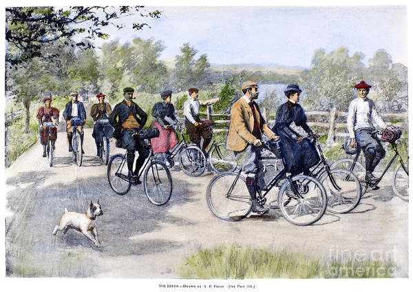 1896 Poster featuring the photograph Bicycle Tourists, 1896 by Granger