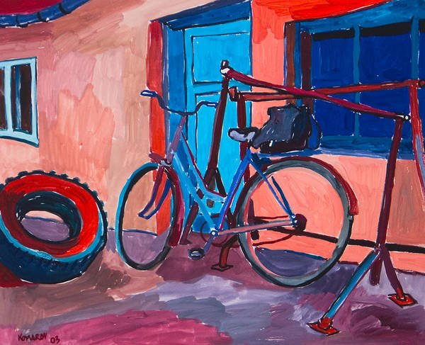 Bicycle Poster featuring the painting Bicycle by Vitali Komarov