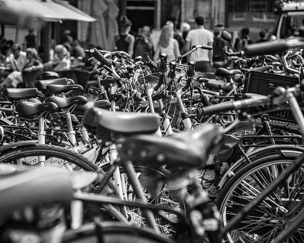 Bikes Poster featuring the photograph Bicycles Amsterdam Black And White by Lauren Pfahlert
