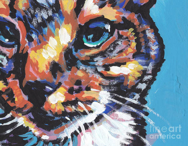 Cat Poster featuring the painting Big Blue Eyes by Lea S