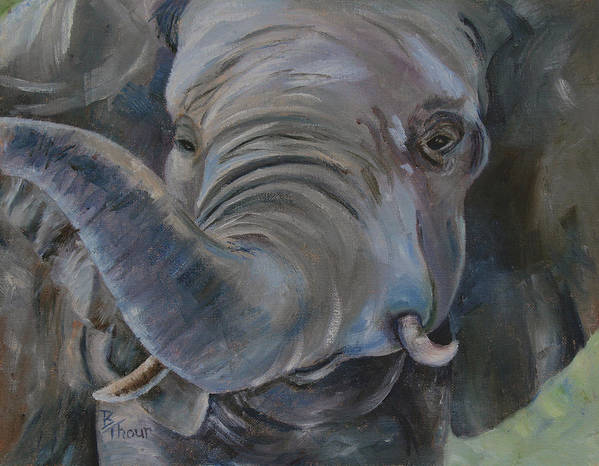 Elephant Poster featuring the painting Big Boy by Brenda Thour