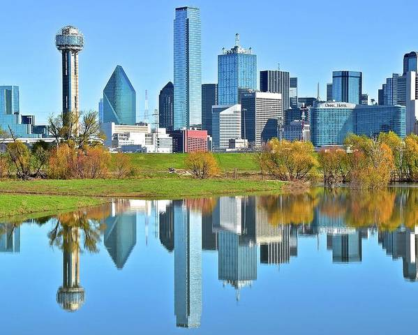 Dallas Poster featuring the photograph Big D Reflection by Frozen in Time Fine Art Photography