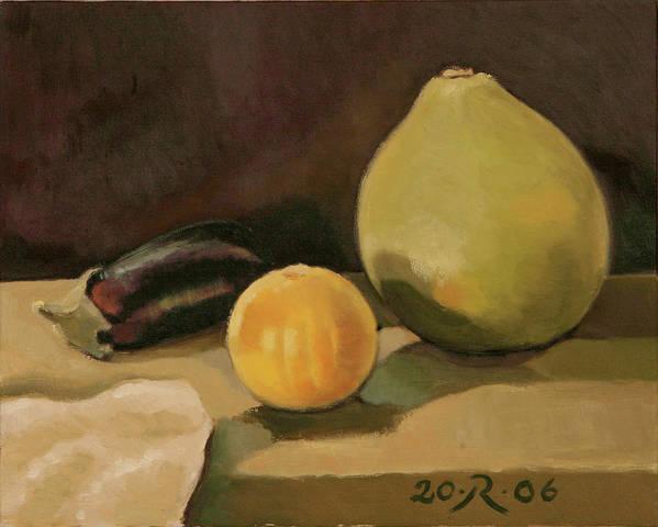 Still-life Cucurbit Aubergine Grapefruit Poster featuring the painting Big Grapefruit by Raimonda Jatkeviciute-Kasparaviciene