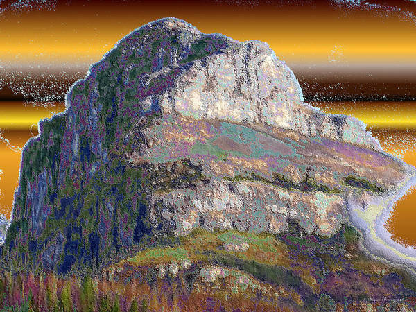 Blue Poster featuring the painting Big Rock by Wayne Bonney