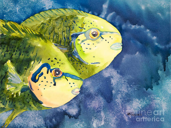Animal Art Poster featuring the painting Bignose Unicornfish by Tanya L Haynes - Printscapes
