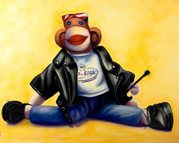 Sock Monkey Brown Poster featuring the painting Biker Dude Made Of Sockies by Shannon Grissom
