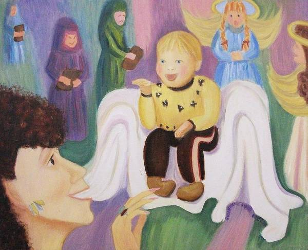 Billy Molleur Poster featuring the painting Billy As Baby Jesus by Suzanne Marie Leclair