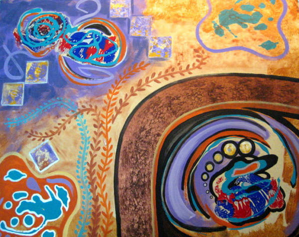 Abstract Poster featuring the painting Biomorphic Botanical by Diann Baggett