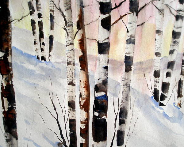 Birch Trees Poster featuring the painting Birch In The Snow by Lisa Schorr