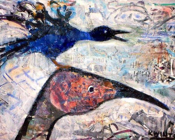 Birds Poster featuring the mixed media Bird On Bird by Dave Kwinter