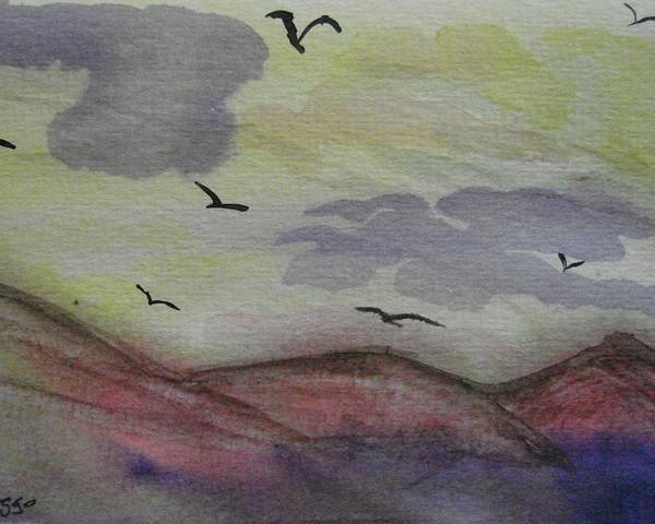 Mountains Poster featuring the painting Birds In Flight by Dottie Briggs