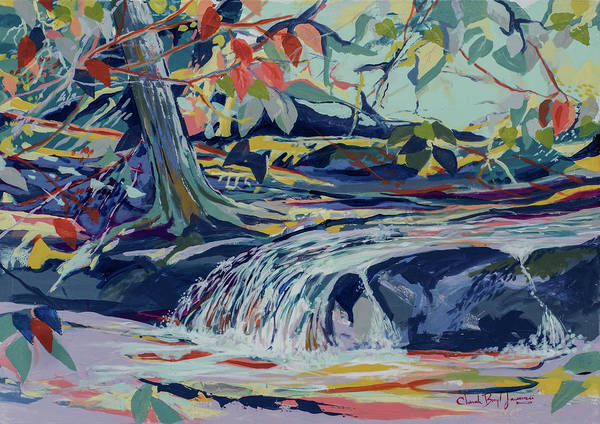 Landscape Poster featuring the painting Birds Waterfall by Cheryl Johnson ARTIST