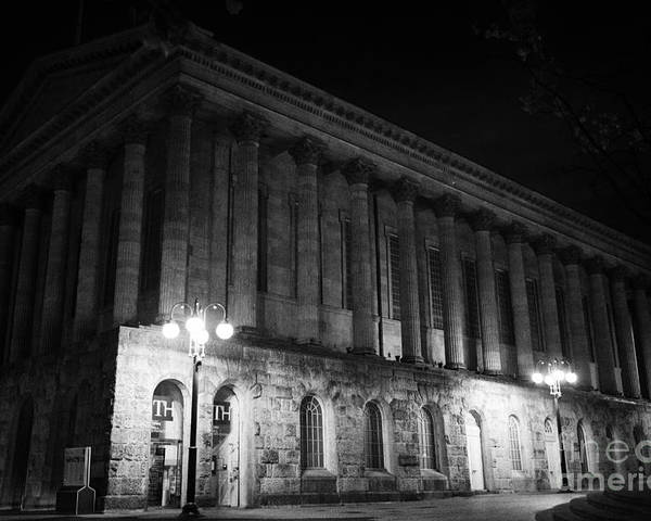 Birmingham Poster featuring the photograph Birmingham Town Hall In The City Centre At Night England Uk by Joe Fox