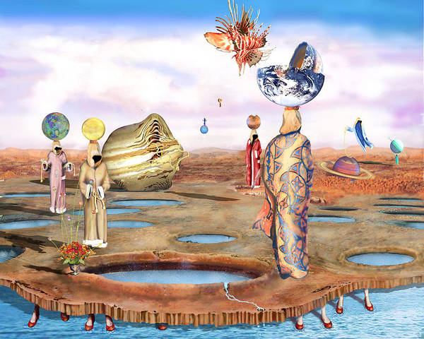 Birth Of The Universe With Lionfish Is A Surreal Landscape Poster featuring the digital art Birth Of The Universe With Lionfish by Leo Malboeuf