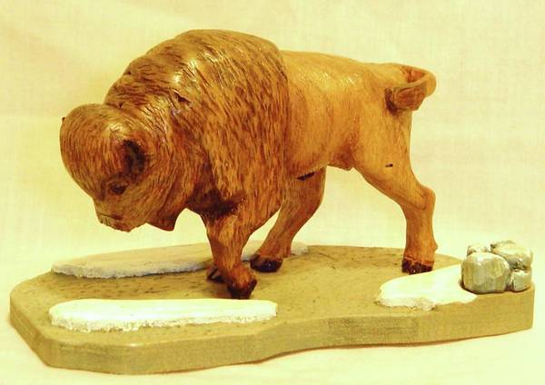 Woodcarving Poster featuring the sculpture Bison by Russell Ellingsworth