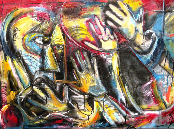 Abstract Poster featuring the painting Bite The Hand That Feeds by Jon Baldwin Art