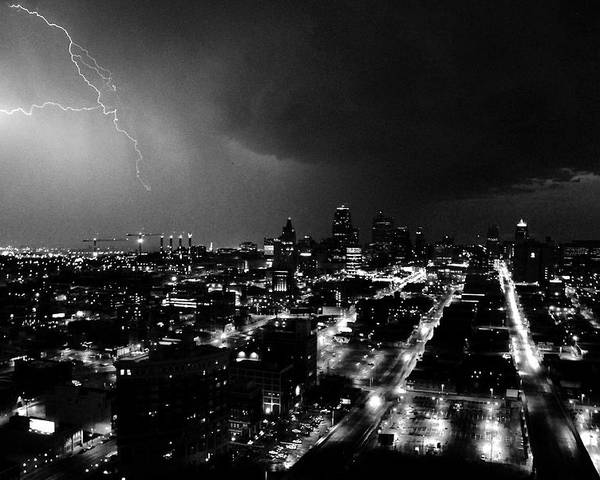 Black And White Poster featuring the photograph Black And White Lighting Over Kansas City by Steven Crown