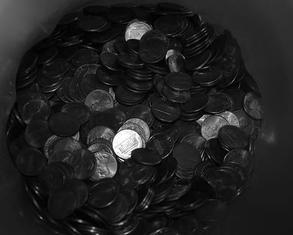 Abstract Poster featuring the photograph Black And White Pennies by Rob Hans