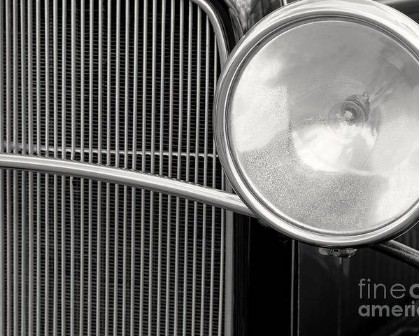 Vintage Cars Poster featuring the photograph Black And White Vintage Car Abstract 1 - Natalie Kinnear Photogr by Natalie Kinnear