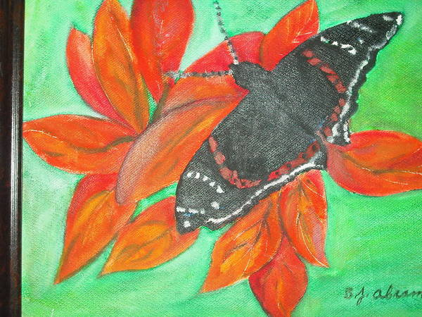 Abstract Poster featuring the painting Black Butterfly by Betty Abrams