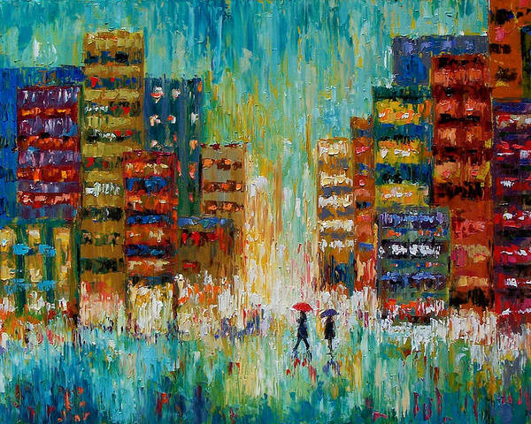 Street Scene Poster featuring the painting Black Coats by Debra Hurd