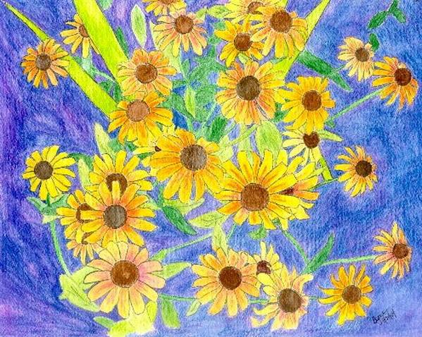 Watercolor Poster featuring the digital art Black Eyed Susan by Margie Byrne