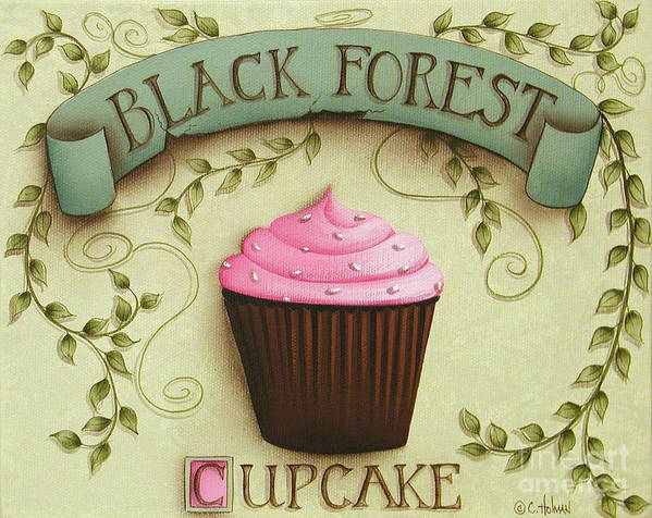 Art Poster featuring the painting Black Forest Cupcake by Catherine Holman