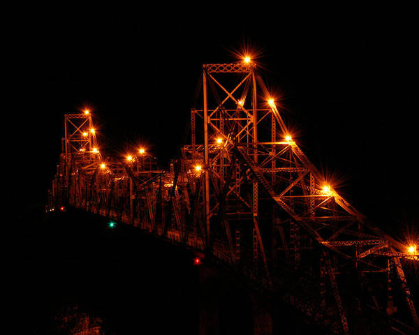 Bridge Poster featuring the photograph Black Hawk At Night by Betsy Stahl