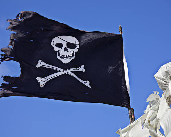 Pirate Flag Skull Cross Bones Poster featuring the photograph Black Pirate Flag by Garry Gay
