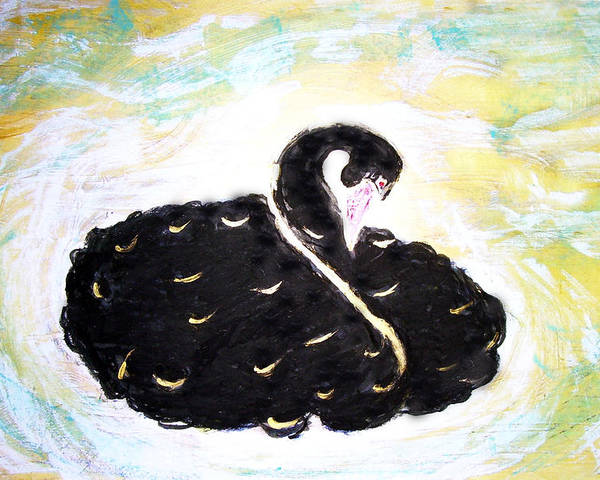 Swan Poster featuring the painting Black Swan by Michela Akers