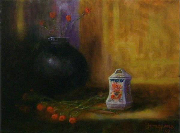Black Poster featuring the painting Black Vase by Tom Forgione