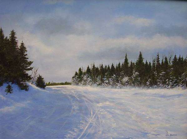 Ski. Snow Poster featuring the painting Blackbear Ski Trail by Ken Ahlering