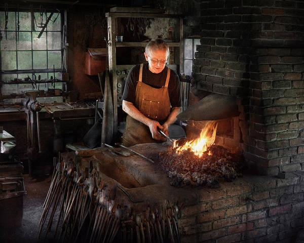 Blacksmith Poster featuring the photograph Blacksmith - Blacksmiths Like It Hot by Mike Savad