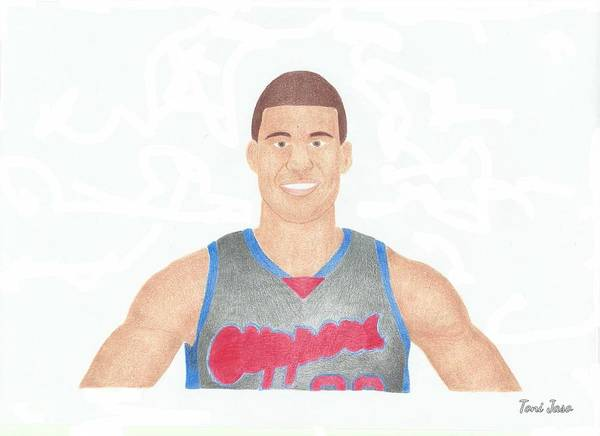 Blake Griffin Poster featuring the drawing Blake Griffin by Toni Jaso