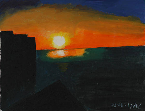 Seascape Poster featuring the painting Blazing Sunset by Harris Gulko