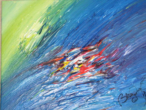 Abstract Poster featuring the painting Bliss - E by Brenda Basham Dothage