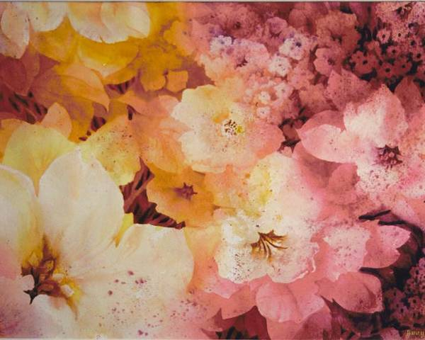 Tropical Poster featuring the painting Blooms-of-summer by Nancy Newman