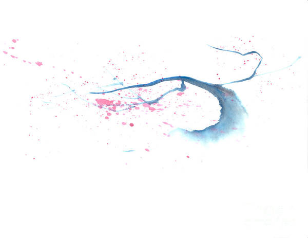 A Flowering Tree Is Blowing In The Wind And Spreading Flower All Over.  This Is A Contemporary Chinese Ink And Color On Rice Paper Painting With Simple Zen Style Brush Strokes.  Poster featuring the painting Blowing In The Wind I by Mui-Joo Wee