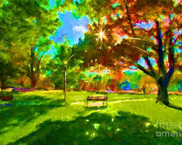Blowing Rock Art Poster featuring the painting Blowing Rock Park by Preston Sandlin