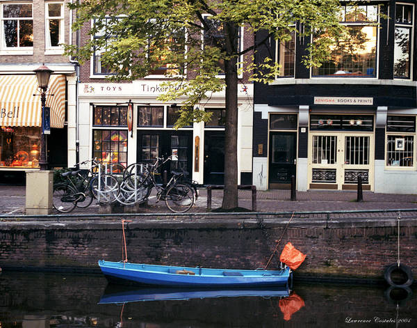 Amsterdam Poster featuring the photograph Blu Boat by Lawrence Costales