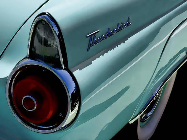 Ford Thunderbird T-bird Tailfin Taillight Vintage Classic Automotive Auto Car 50's 1955 Blue Poster featuring the digital art Blue 1955 T-bird by Douglas Pittman
