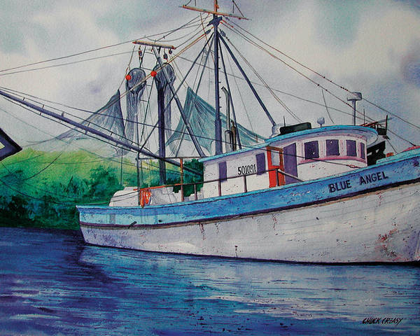 Shrimp Boat Poster featuring the painting Blue Angel by Chuck Creasy