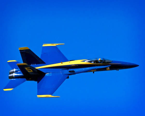 Blue Poster featuring the photograph Blue Angel Fly By by Gary Prill