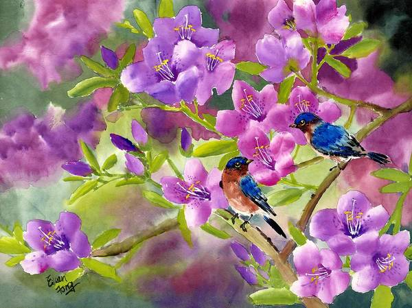 Blue Birds Poster featuring the painting Blue Birds With Azalea by Eileen Fong