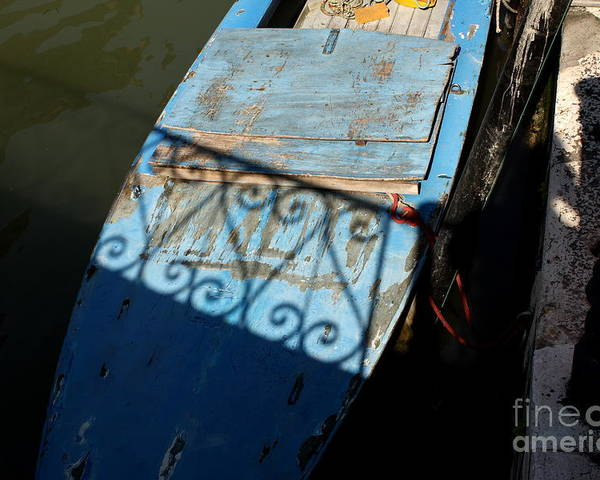 Boat Poster featuring the photograph Blue Boat In Venice With Shadow by Michael Henderson